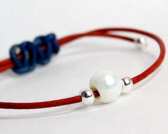 Perlé pile Bracelet en cuir avec des perles en par SeaRanchJewelry