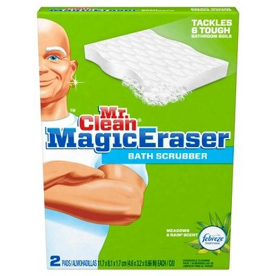 Mr. Clean Magic Eraser Bath Scrubber Febreze Meadows & Rain 2 ct,