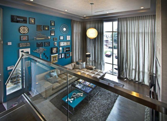 farbgestaltung wohnzimmer wandgestaltung wanddesign blau kobalt ...