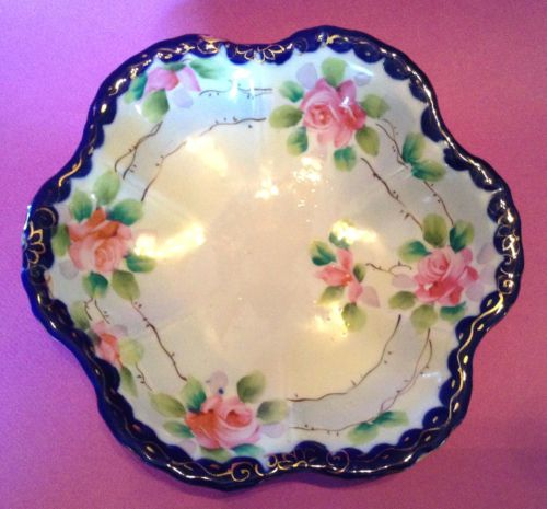 Blue-Rimmed-Ruffled-Bowl-Hand-Painted-Roses-Blue-Ribbon-With-Gilding-Japan