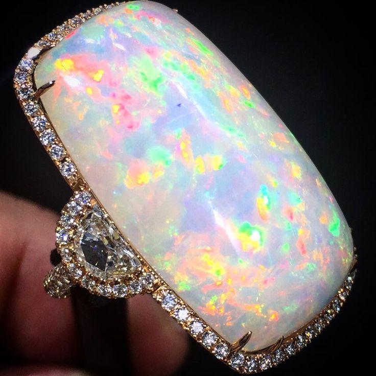 Opal and diamond ring  Alsayegh Jewelry, Kuwait #opalaustralia