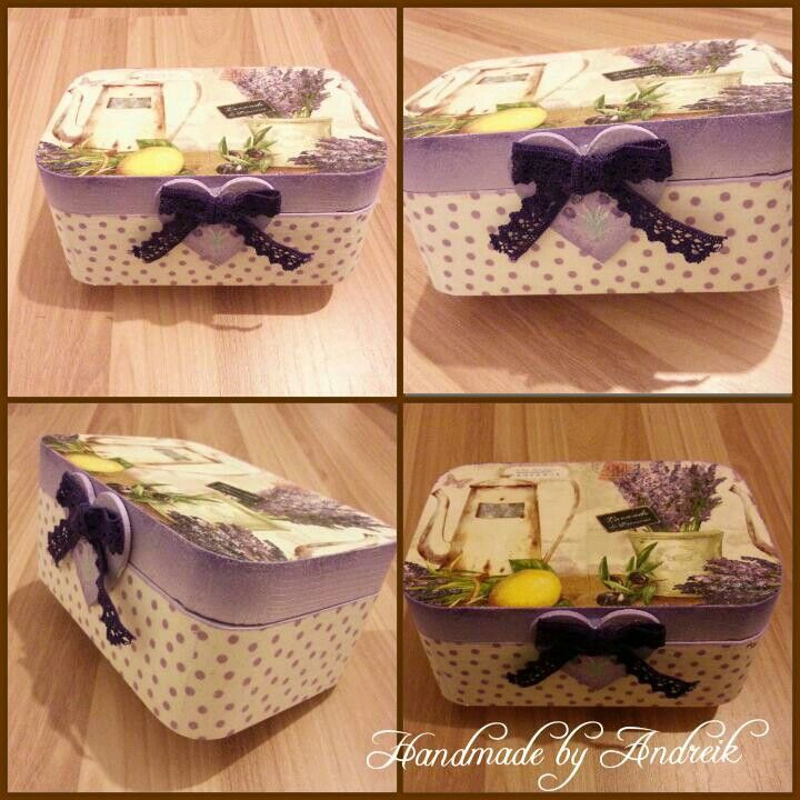 Tea lavender  decoupage box purple