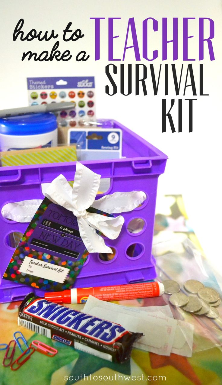 Make this easy teacher survival kit to with items from @Walmart for your favorite teacher, and #EatASnickers to beat hunger! Get the easy directions and a free printable tag in this post!  #ad