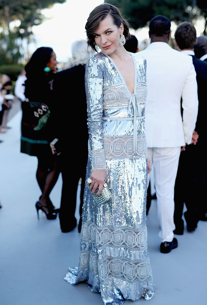 Formal Dress Inspiration | What All the Celebs Wore to the 2016 amfAR Gala | Milla Jovovich in a silver metallic sequin gown