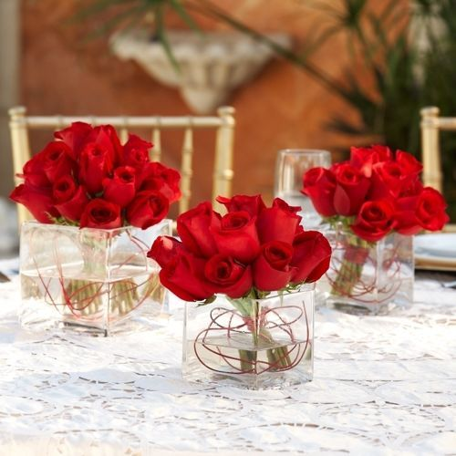 Rose Wedding Ideas: 49 Best Rehearsal Dinner Table Decorations With Red Roses