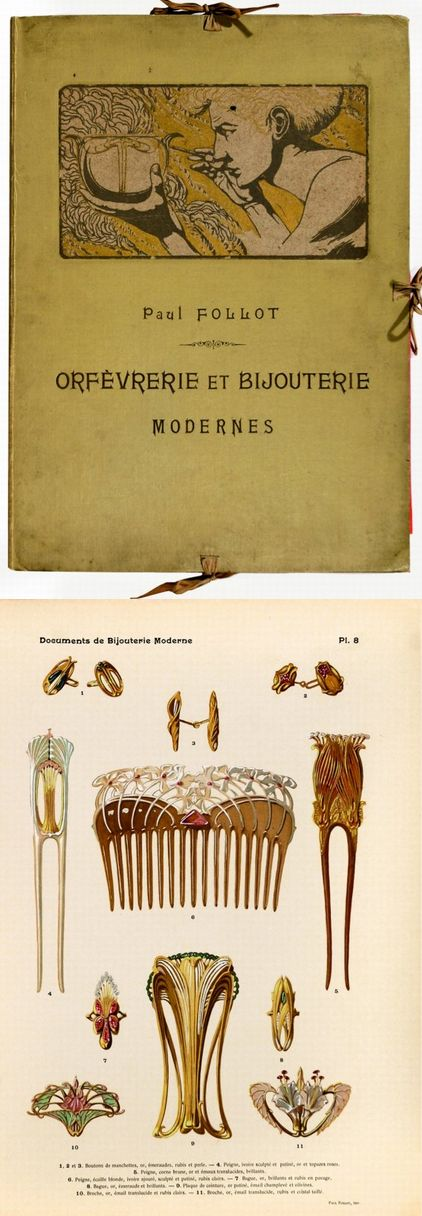 Paul Follot advertising folio, containing 24 color pages of Art Nouveau accessories in gold and silver. Shown: cufflinks, hair combs and brooches.