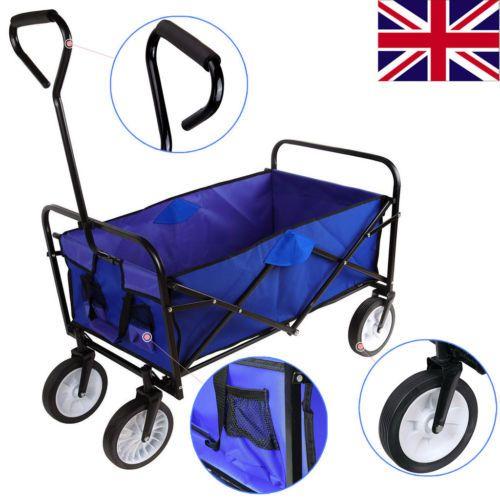 Heavy duty #folding garden #trolley cart wagon 4 #wheel pull along #wheelbarrow bl,  View more on the LINK: http://www.zeppy.io/product/gb/2/201674942168/