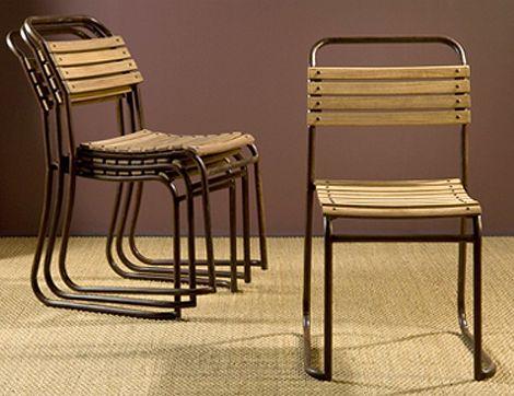 Wood Slat Stacking Chair Indoor Outdoor Vintage