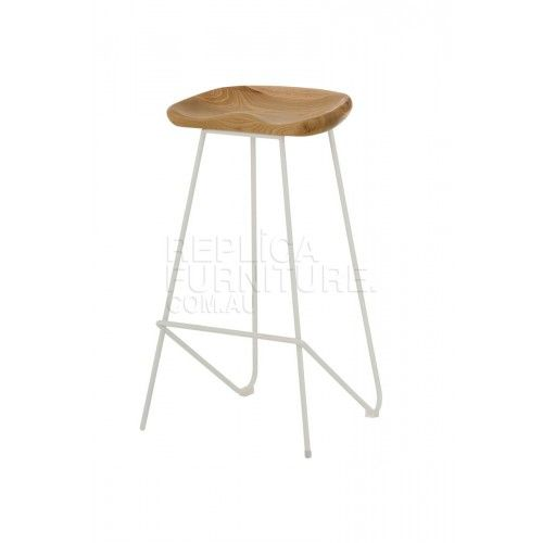 Tractor Stool Replica Natural Seat And White Wire