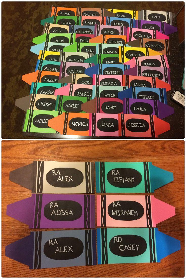 RA, CA, res life, door decs, name tags, crayons, crayon theme