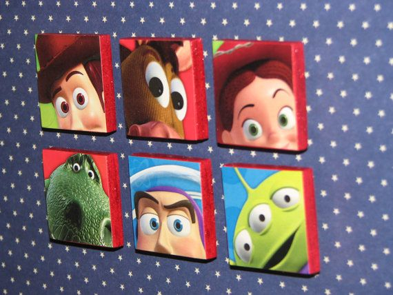 Toy Story Magnet Set (set of 6) / Woody / Buzz Lightyear / Jessie / Bullseye / Rex / Alien. $5.50, via Etsy.