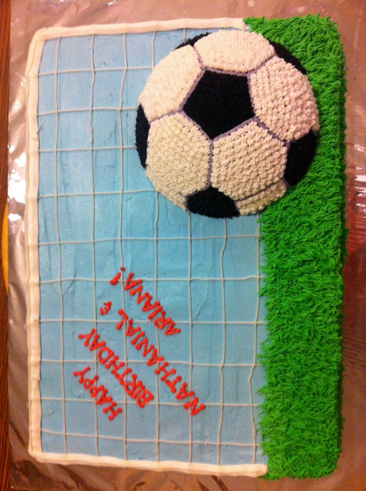 Raised soccer ball cake