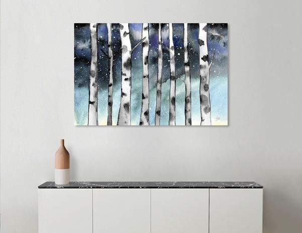 Discover «Birch Shadows In Winter», Numbered Edition Canvas Print by Amaya Brydon - From $49 - Curioos @curioos #art #birchtrees #wallart #painting #print