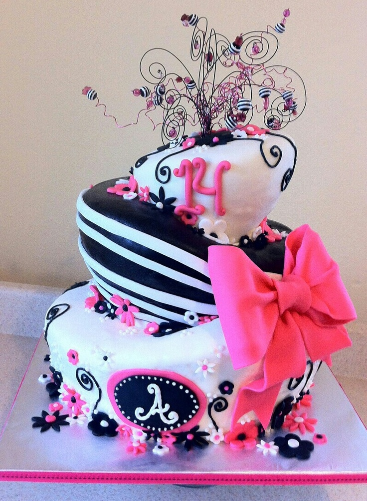 Black and pink 14th BRITHDAY cake!!!
