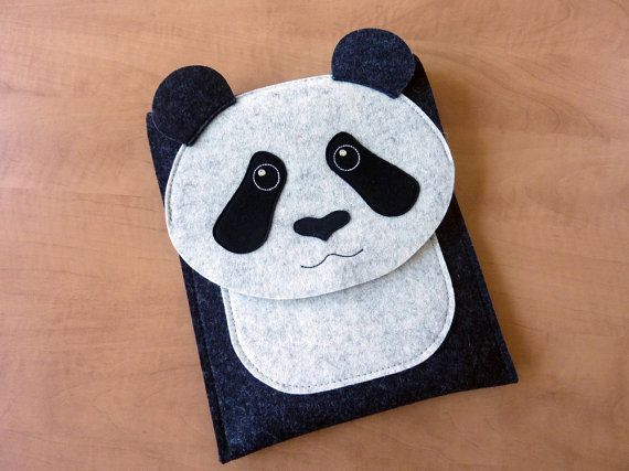 Panda iPad Air 1/2 and iPad 2/3/4 case // Animal felt