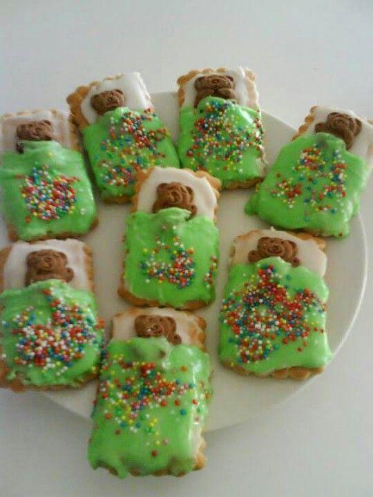 Cute for camping. Bears in sleeping bags cookies/treats.