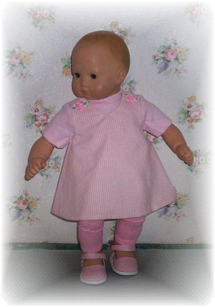 Doll clothes. 3 pc Pink Striped Jumper set.. Striped shoes are also available..
