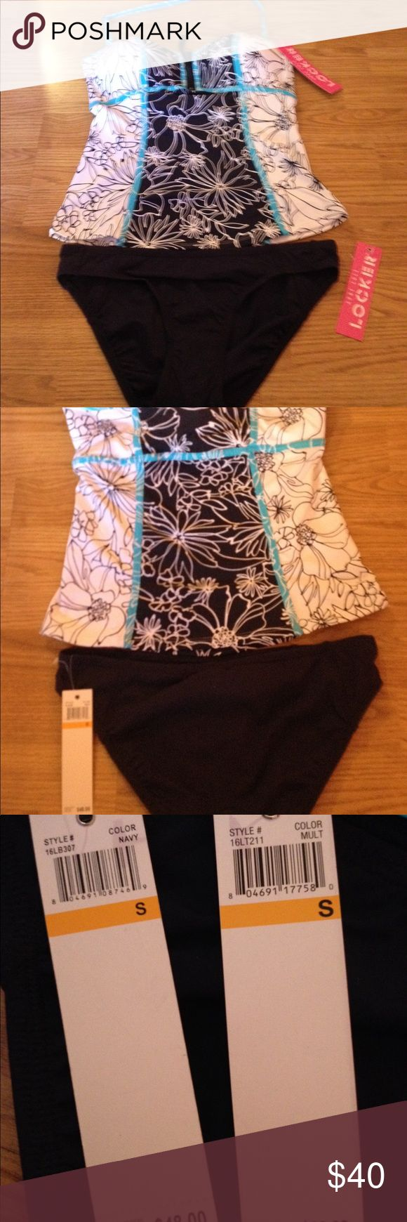 NWT ladies 2 piece  swimsuit bikini sz Sm Brand new! This is so cute in white navy and light blue. Detachable strap at neck and navy bikini bottom Anne Cole Locker Swim Bikinis
