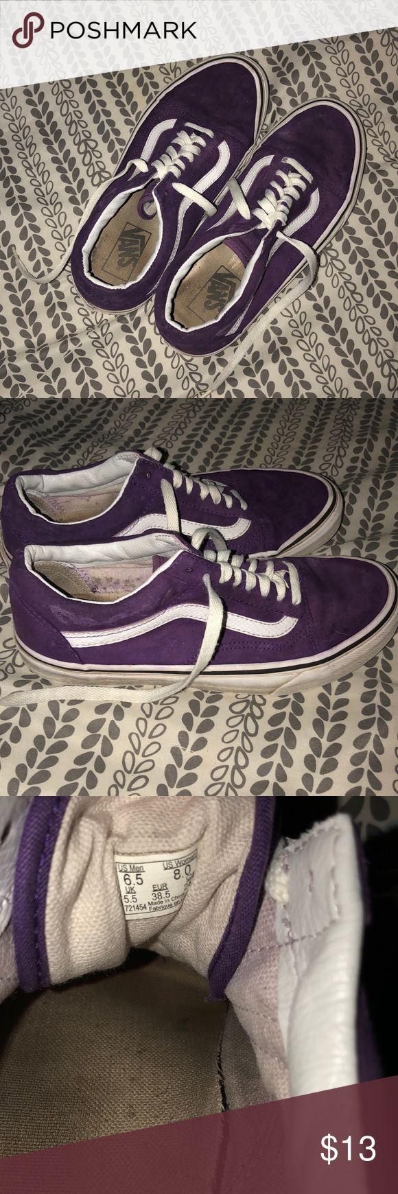 Purple Vans! Size me s 6.5 but equivalent to a women's 8.0. Worn condition but clean. Vans Shoes Sneakers