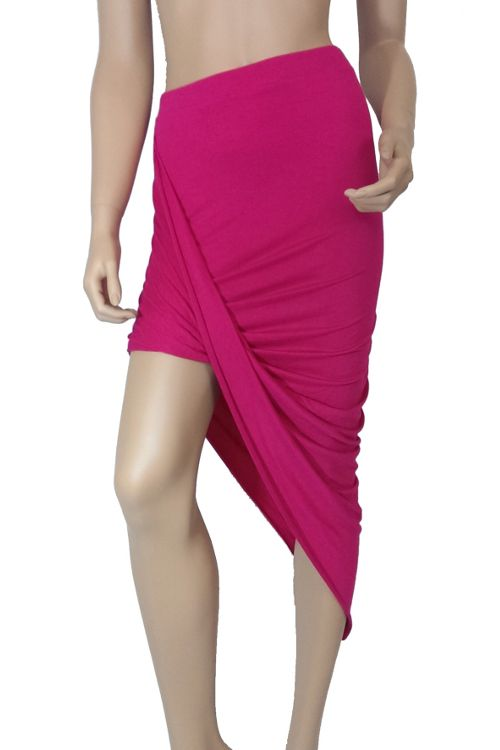 Asymmetrical Draped Skirt Pink