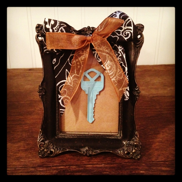 Our first home key, framed.