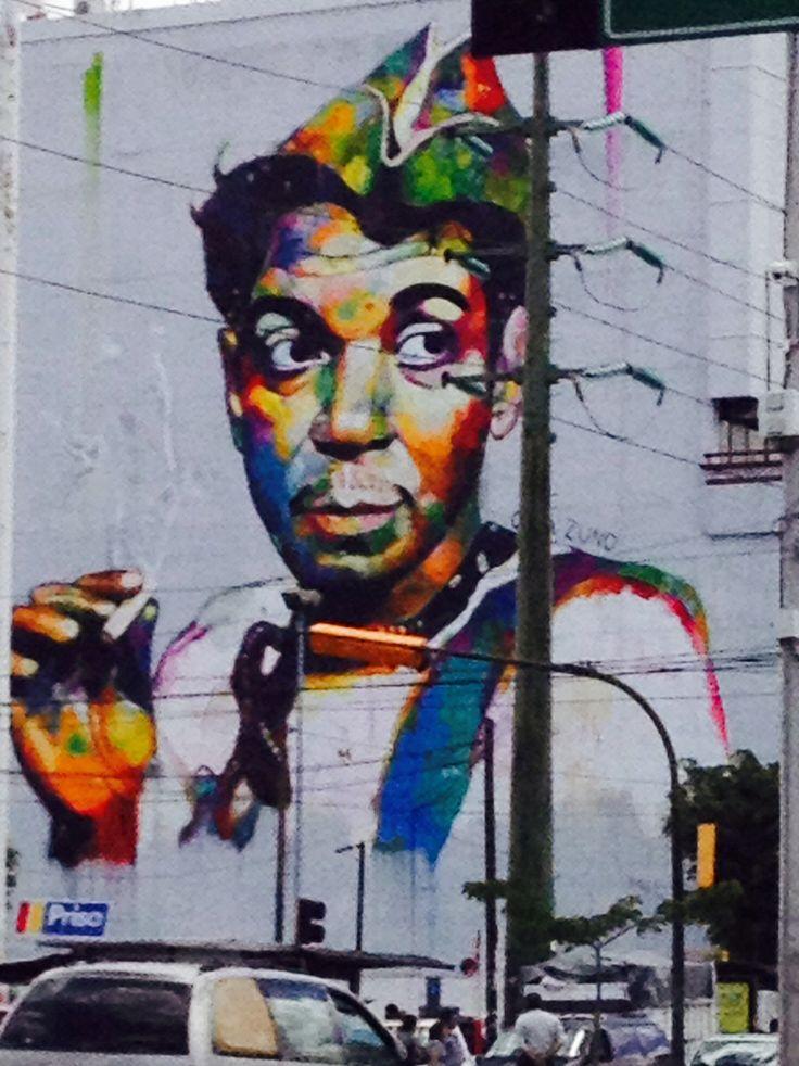 Mural de cantinflas ubicado en la av vila camacho a la for El mural trailer