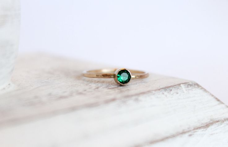 Emerald Ring - May Birthstone Ring - Gemstone Ring - 14k Gold Fill or Sterling Silver - Stacking Ring - Thin Simple Ring -  Bezel Ring by MinimalistMagnolia on Etsy https://www.etsy.com/listing/210213625/emerald-ring-may-birthstone-ring