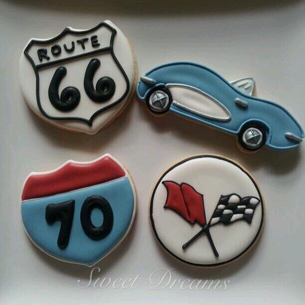 Cookies for a gentleman who loves to drive his corvette on Route 66!#cookiedecorator #sweetdreamsbaker #route66 #corvette #birthday