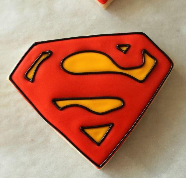 Superman cookies using FooDoodler Fine Line Markers made by Sweet Sugar Belle!