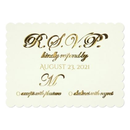#wedding #responsecards - #Response Party Reply Wedding RSVP Gold Ivory Card