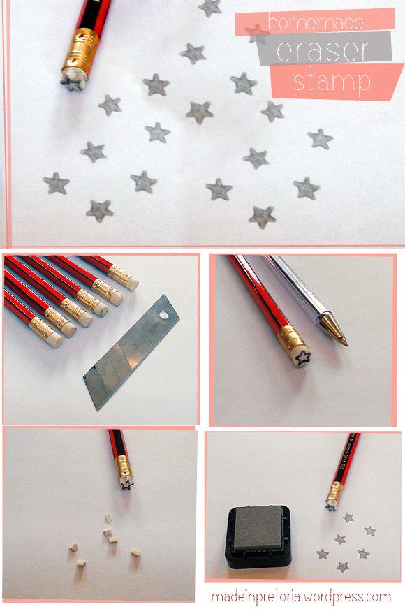 DIY: PENCIL ERASERSTAMPIdeas, Pencil Erase, Diy Stamps, Stars Stamps, Diy Crafts, Erase Stamps, Diy Stars, Stamps Madeinpretoria, Era Stamps