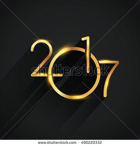 New Year 2017 golden colored text Design. vector illustration for calendar