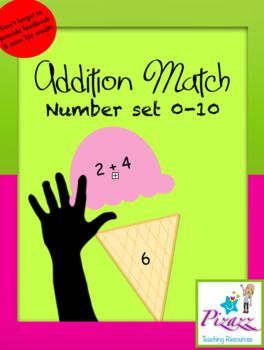 Addition Match Ice Cream 0-10 Game. Contains one set of coloured ice cream match games and a grey scale set. Print, Cut and Laminate for a reusable eye catching addition game. Perfect for math rotations. If you are after more difficult equations see our 10-20, 20-100 and 100-1000 sets, or
