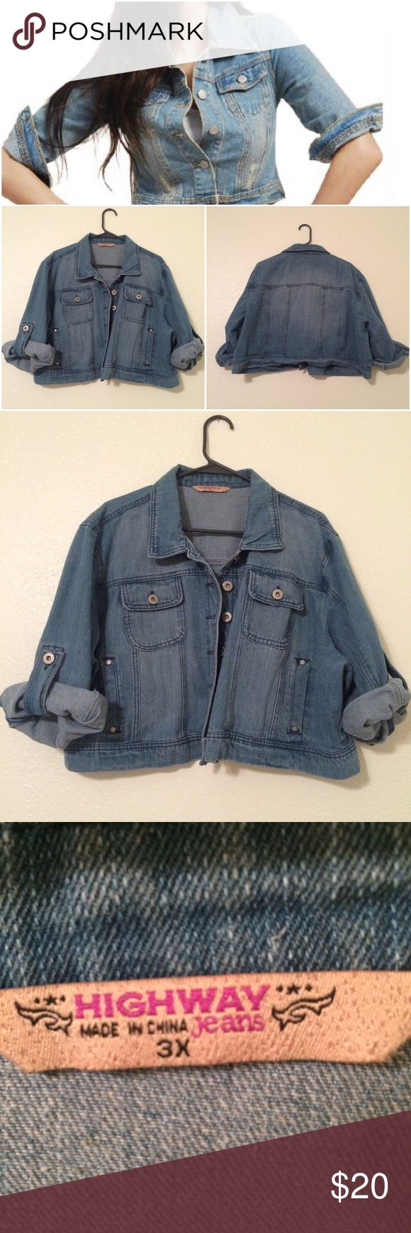 Plus size like new half length Jean denim jacket Size 3x! Excellent like new condition! Half length jacket with half length sleeves that can be rolled down. Make me an offer! Highway Jeans Jackets & Coats Jean Jackets
