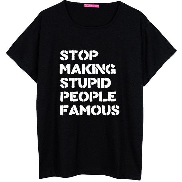 Stop Famous Oversized T Shirt Boyfriend Womens Ladies Girl Fun Tee Top... ($22) ❤ liked on Polyvore