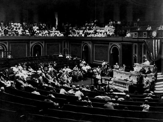 Jeannette Rankin Speaks Before Congress, 1917
