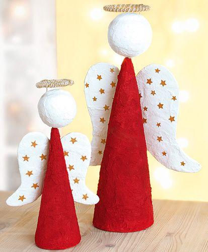 Weihnachtsengel aus Styropor und Gips
