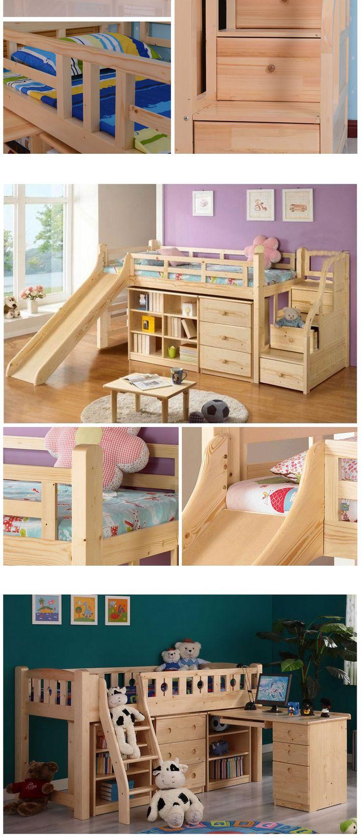 Многофункциональная игровая детская кровать из дерева с горкой, ящиками и полками для игрушек и вещей купить в интернет-магазине https://lafred.ru/catalog/catalog/detail/36835800190/