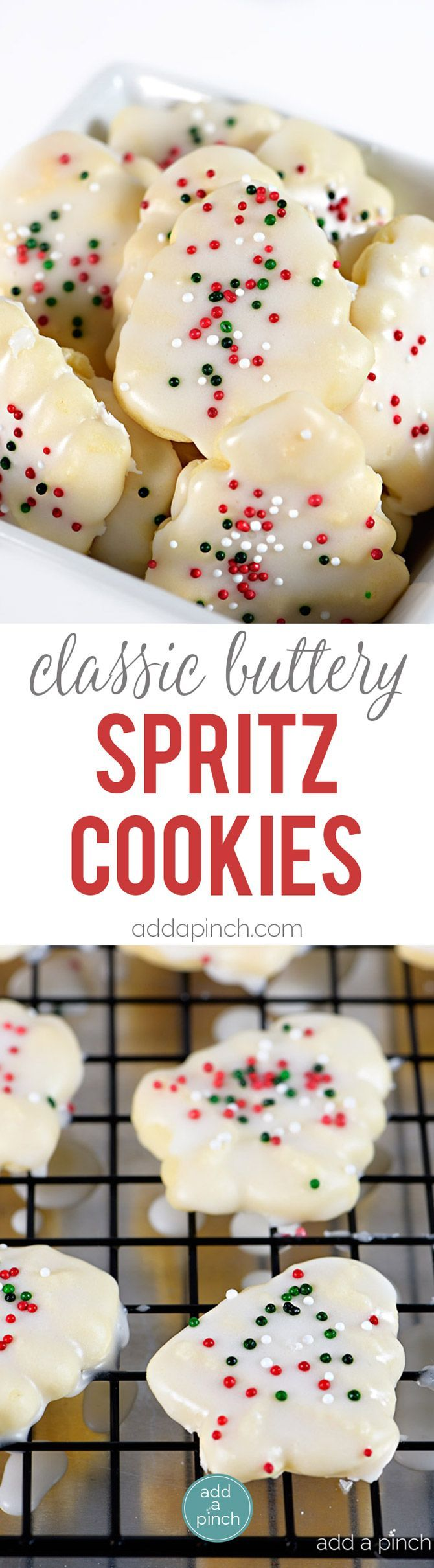 Classic Buttery Spritz Cookies make an easy delicious buttery cookie that comes together quickly! Perfect for special occasions and holidays, these spritz cookies are a favorite! // addapinch.com (Christmas Bake Exchange)