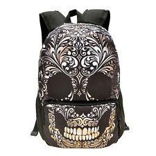 Женский мужской рюкзак холст школьный рюкзак сумка через плечо, сумка для путешествий череп 29a