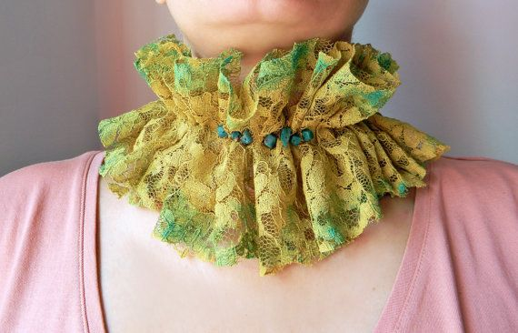 Lime Green fabric choker Hand painted Lace choker collar with