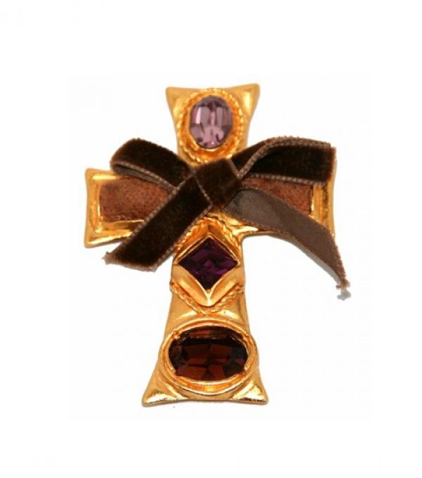 Christian Lacroix - Brooch Pendant Purple Cross - Vintage Christian Lacroix - Katheley's