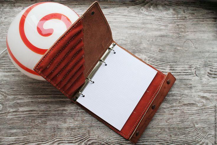 Купить Ежедневник, блокнот, тетрадь из натуральной кожи Оранж - рыжий, оранжевое…