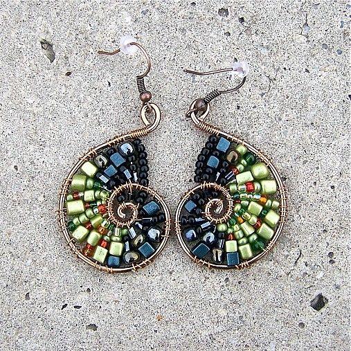 Beaded Nautilus Earrings