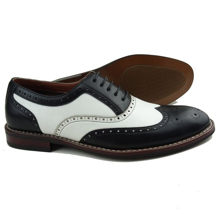 Mens Vintage Style Shoes| Retro Classic Shoes  Mens Black White Lace Up Wing Tip Perforated Oxford Dress Shoes $34.99 AT vintagedancer.com