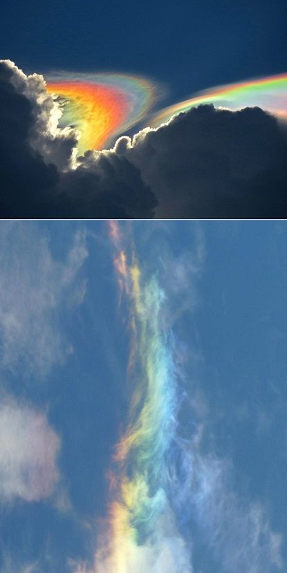 Rainbow Clouds AKA: high altitude ice storms - sunlight is refracted by the ice crystals in the atmosphere