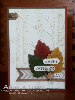 Father's Day card with Stampin' Up! Holiday catalogue sneak peeks. Features Vintage Leaves & Leaflets Framelits bundle available from my online store: angelaspaperarts.stampinup.net plus new Woodland TIEF #angelaspaperarts #holiday2015 #vintageleaves