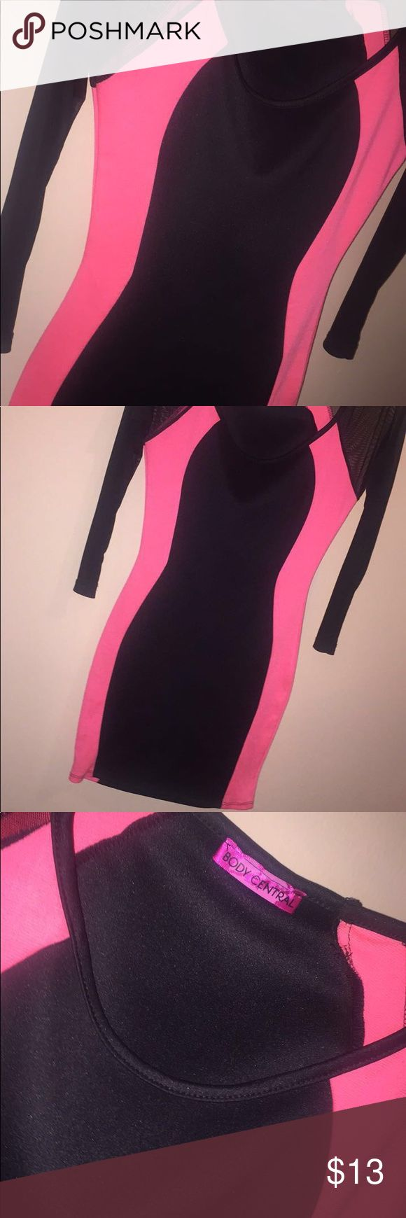 Form Fitting Body Central Dress Pink and Black form fitting dress Body Central Dresses Midi