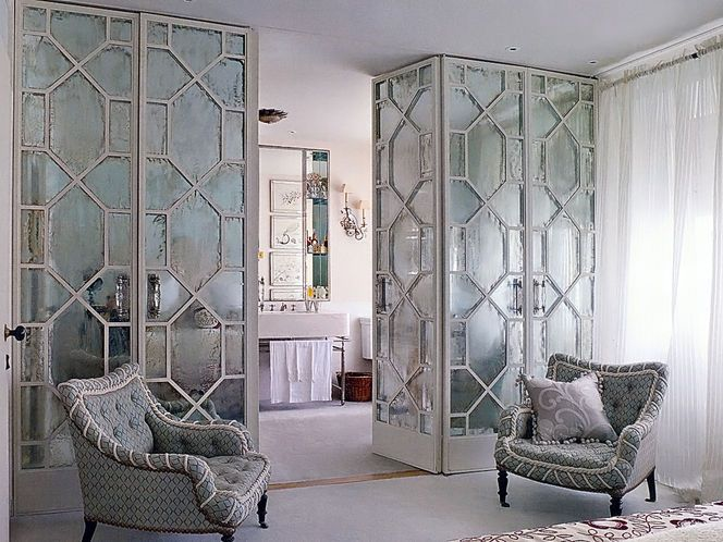 Etched Mirror Doors w/ Lucite Pulls = great room dividers