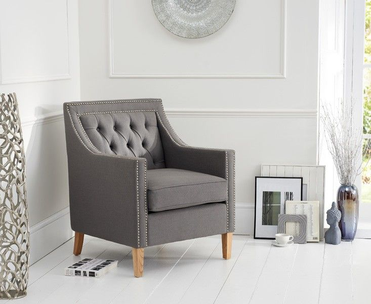 Buy the Chatsworth Chesterfield Grey Fabric Armchair at Oak Furniture Superstore